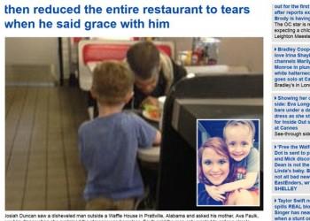5歲男孩求母親請流浪漢吃晚餐 全餐廳感動落淚