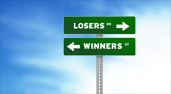 High resolution graphic of losers and winners Road Signs on Cloud Background